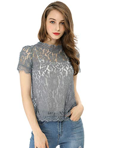 Allegra K Women's Scalloped Trim See Through Semi Sheer Floral Lace Top L Grey