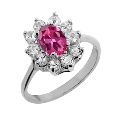 1.25 Ct Oval Pink Tourmaline White Topaz 925 Sterling Silver Ring