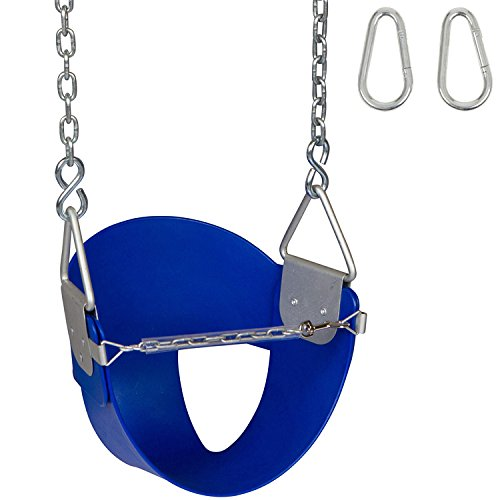 Swing Set Stuff Highback ½ Bucket Seat (Blue) with Chains and Hooks and SSS Logo -