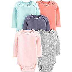 Simple Joys by Carter's Baby Girls' 5-Pack Long-Sleeve Bodysuit 24