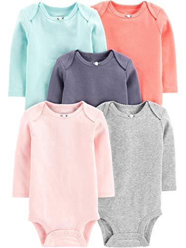 Simple Joys by Carter's Girls' 5-Pack Long-Sleeve Bodysuit, Solid 6-9 Months ()