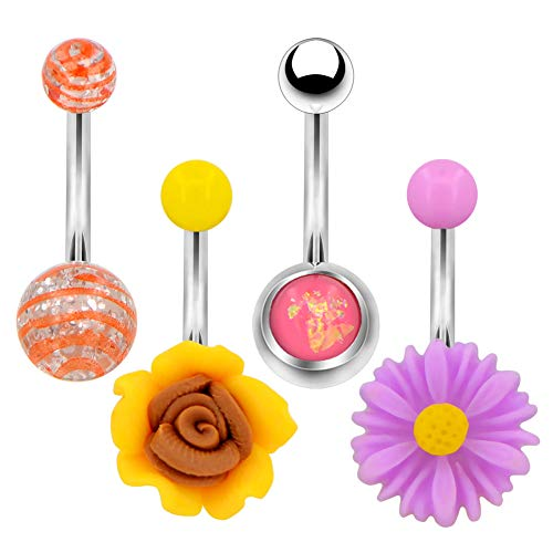 - Jewseen 4pcs Belly Button Rings 14g Cute Daisy Flower Navel Rings Body Navel Piercing Belly Rings