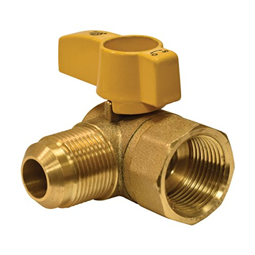 Eastman 60034 Female x Flare Angle Brass Gas Ball Valve Connector with Quarter-Turn Lever Handle, CSA-Approved, 1/2-Inch FIP x 1/2-Inch OD Flare