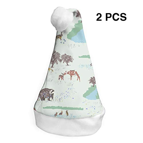Santa Claus Hat Animals in The Nature Merry Christmas Hats Adults Children Costume Xmas Decor Party Supplies (2-Pack)