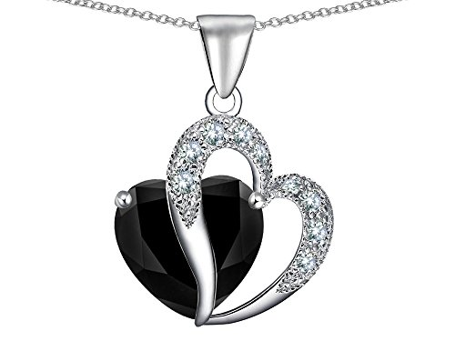 Star K Heart Shape 12mm Black Cubic Zirconia Pendant Necklace Sterling Silver