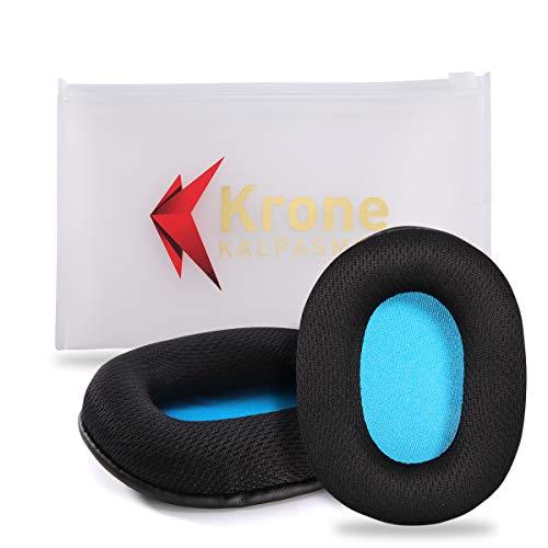 Krone Kalpasmos Replacement Earpads for Turtle Beach-Stealth/Audio Technica ATH -M/HyperX/Sony/SteelSeries/Sennheiser(Lists Inside)Many Large Over Ear Headphones, Breathable Fabric Memory Foam Cushion (Turtle Beach Ear Pads)