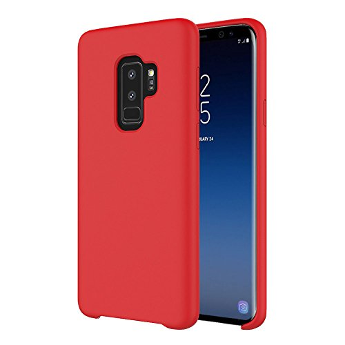(VitaVela Galaxy S9 Case, Samsung Galaxy S9 Silicone Cover Liquid Silicone Gel Rubber Case with Soft Microfiber Cloth Lining Cushion for Galaxy S9 (Red))