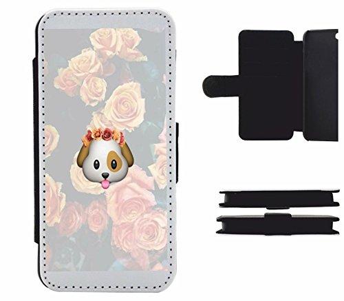 """Leder Flip Case Apple IPhone 6 plus/ 6S plus """"Hundekopf mit Rosenkranz und Rosen im Hintergrund"""", der wohl schönste Smartphone Schutz aller Zeiten."""