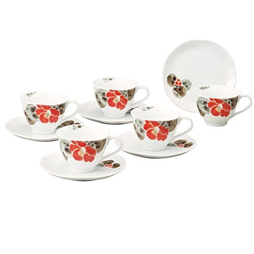 JAPANESE Kutani Pottery Camellia coffee set K4-1056 Made in Japan ... by Kutani
