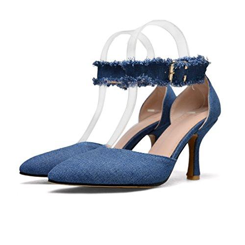 Denim Femmes Talon Chaussures UH Aiguille Talons Strappy Modernes Sandales Bleu Dentelle Hauts Avec qddzA