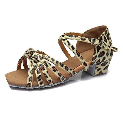 oRNicolaCamp 2019 Girls Children/Child/Kids Ballroom Tango Salsa Latin Dance Shoes Low Heel Shoes,Leopard,11