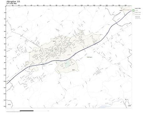 Amazon.com: ZIP Code Wall Map of Abingdon, VA ZIP Code Map