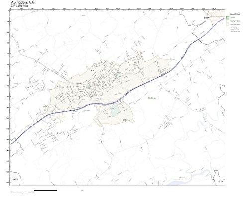 ZIP Code Wall Map of Abingdon, VA ZIP Code Map Laminated