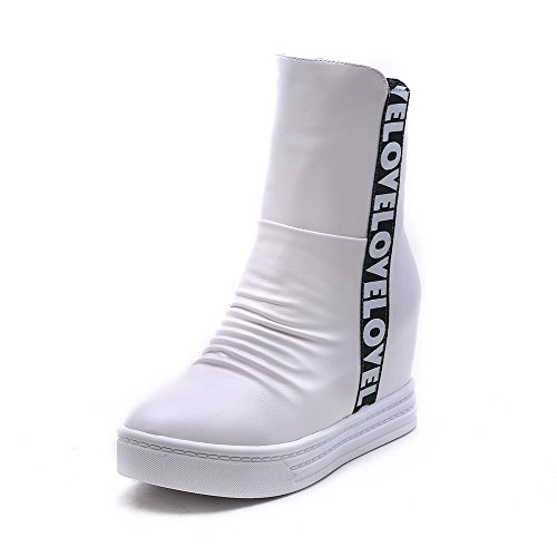 Color Round Allhqfashion Boots Material Closed Soft Zipper Heels White Toe Women's Assorted High Tq8Y4T