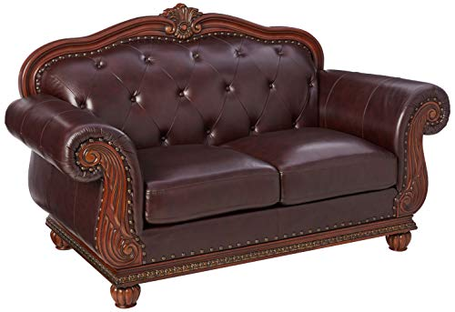 Farmhouse Living Room Furniture ACME 15031 Top Grain Leather Loveseat, Dark Brown Leather farmhouse sofas and couches