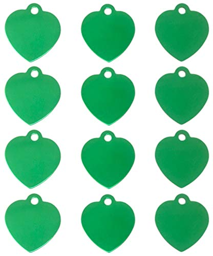 TheAwristocrat 12 Pack Blank Pet ID Tags for Dogs & Cats Wholesale - Select from a Variety of Shapes & Colors (Green, ()
