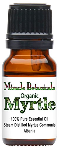 Miracle Botanicals Organic Myrtle Essential Oil - 100% Pure Myrtus Communis - 10ml or 30ml Sizes - Therapeutic Grade - 10ml by Miracle Botanicals