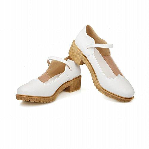 Mee Shoes Damen chunky heels ankle strap Geschlossen Pumps Weiß