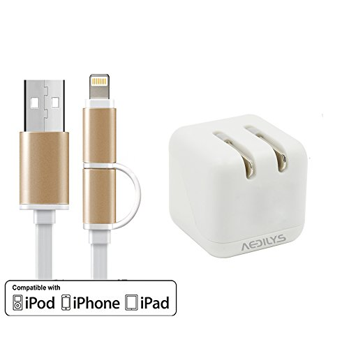 IPhone 6 Cable ,Wall Charger ,AEDILYS 5V 2.1A 2-Port USB Home Wall Travel Adapter Foldable Plug for iPhone 6S 6 5S iPad 4 Samsung Galaxy S6 Edge Plus Note 5 HTC and more