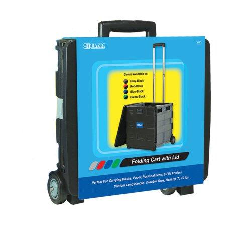 Bazic 16 x 18 x 15 Inches, Folding Cart On Wheels with Li...