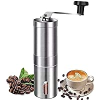 Manual Coffee Grinder - Conical Burr Mill & Brushed Stainless Steel Whole Bean Burr Coffee Grinder for Aeropress, Drip…