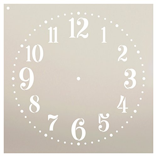 Provincial Clock Face Stencil by StudioR12 | Classic Numbers Clock Art - Reusable Mylar Template | Painting, Chalk, Mixed Media | DIY Decor - STCL2337 - Select Size (12