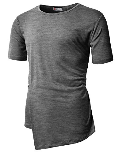 H2H Mens Asymmetric Hem Knit Top Charcoal US XL/Asia 2XL - Online India Shopping Us To