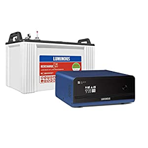 Luminous Zelio+ 1100 Pure Sine Wave Inverter with Red Charge RC 18000 ST 150 Ah Short Tubular Battery for Home, Office…