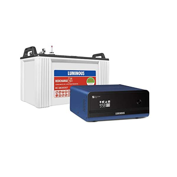 Luminous Zelio+ 1100 Pure Sine Wave Inverter with Red Charge RC 18000 ST 150 Ah Short Tubular Battery for Home, Office… 2021 June [Zelio 1100 inverter] capacity: 12v, 900va; max. bulb load: 756 watt; inverter type: pure sine wave inverter Display: digital display; processor: intelligent 32 bit dsp processor; safety: mcb for protection from input main Warranty: 24 months on inverter & 36 months on inverter battery