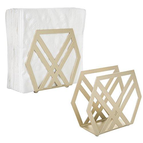 MyGift Modern Geometric Brass-Tone Metal Napkin Holder, Set of - Brass Accents Tone