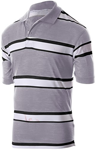 (Enimay Men's Classic Fit Striped Polo T-Shirt Short Sleeve (Many Colors Available) 1807 -Heather Gray | Black Large)
