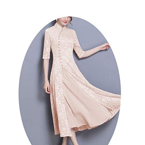 背骨甲虫さようなら夏の女性エレガントなレトロな中国の伝統的なドレスシルク綿女性の女性結婚式カジュアルデザイン,9,XXXL