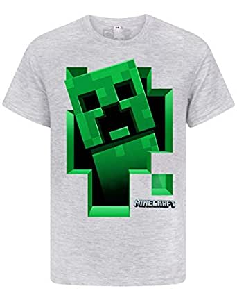 Minecraft Creeper Inside Boy's Grey T-Shirt (7-8 Years)