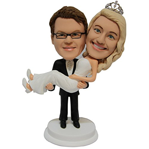 Premade Polyresin Body and Hand Made Clay Head Personalized Wedding Cake Topper (Figurine Handmade Sculpture)