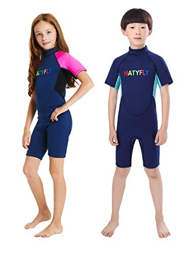NATYFLY Kids Wetsuit Premium 2mm Neoprene Short Sleeve Youth Shorty Wetsuit for Girls Boys Child (Blue, 4X-Large)