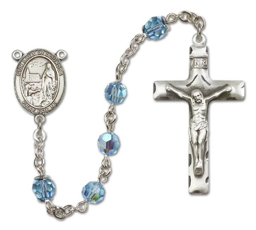 Our Lady of Lourdes Aqua Swarovski Austrian Tin Cut Aurora Borealis Crystal Patron Saint Sterling Silver Religious Catholic Prayer -