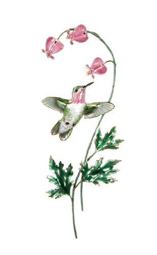 Bovano - Wall Sculpture - Hummingbird Calliope w/Bleeding Heart Flowers