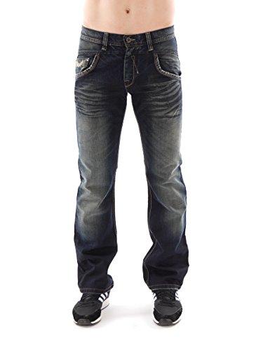 Kaporal5 Jeans Hose Renzo dunkelblau Denim Five-Pocket Ziernähte Used GR:32 Renzo