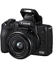 كاميرا رقمية كانون اي او اس ام 50 اي اف-ام بعدسة اس تي ام دون مراه ببعد بؤري 15-45 ملم وفتحة عدسة F3.5-6.3، 24.1 ميجابيكسل، 4 كيه، بلون اسود