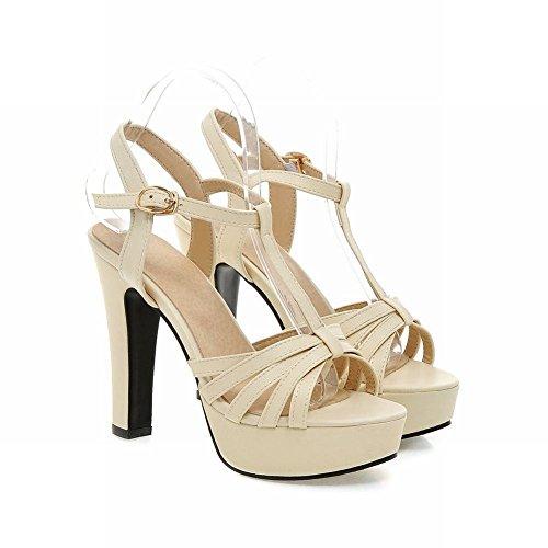 Mee Shoes Damen high heels Schnalle T-strap Sandalen Beige