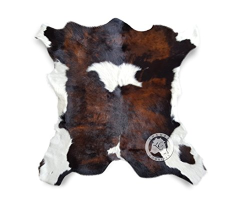 Calfskin Tricolor Exotic Calf Hide Cow Skin Cowhide Rug Leather Area Rug 3 x 2 ft. -