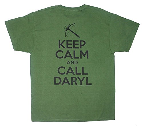 The Walking Dead Keep Calm, Call Daryl Adult Two Sides Green T-shirt 2XL