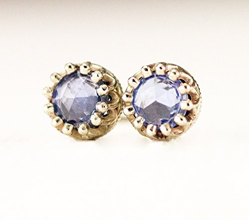 Crown Set Rose Cut Sapphire Studs - 14k White Gold Post Earrings