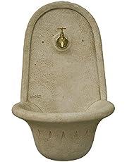 CATART Fuente de jardín Colgar aguamani en hormigón-Piedra con Grifo Forma 30X45X65cm.