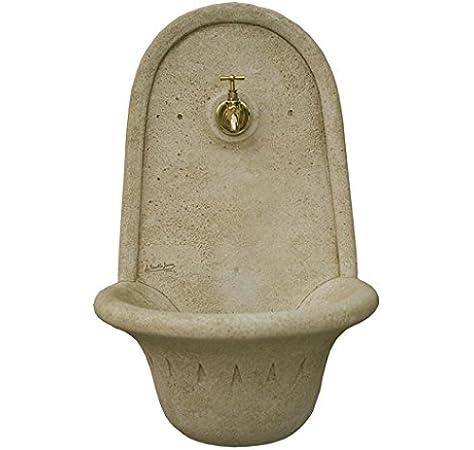 CATART Fuente de jardín Colgar aguamani en hormigón-Piedra con Grifo Forma 30X45X65cm.: Amazon.es: Jardín