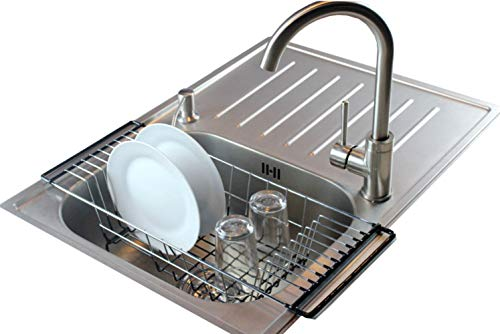 Sink Dish Rack - Neat-O Over-The-Sink Kitchen Dish Drainer Rack, Durable Chrome-plated Steel (Black)