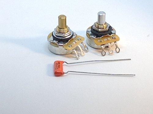 - 2 CTS Solid Shaft Pots 1x 500KA 1x 250KA Tele Hot Rod Set with .047 225P Orange Drop