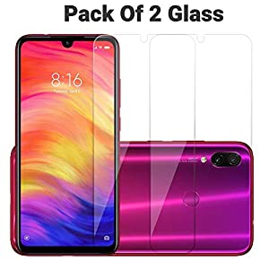 POPIO Tempered Glass for Xiaomi Redmi 7 / Xiaomi Redmi Note 7 / Redmi Note 7 Pro / Xiaomi Redmi Y3 (Transparent)-Full Screen Coverage (Except Edges) with easy installation kit Pack of 2 3