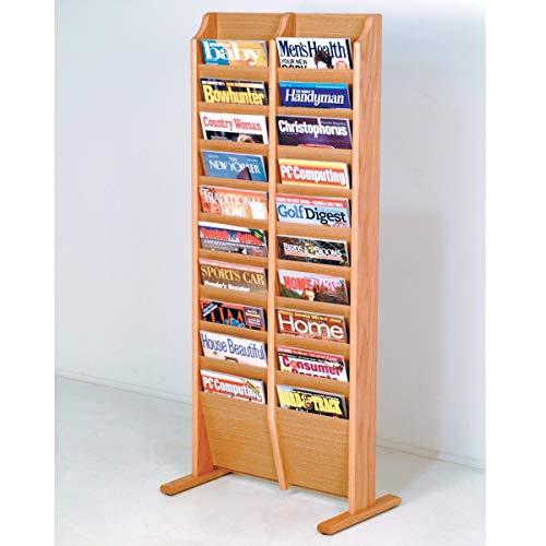 (Wooden Mallet MR20-FSBH Cascade Free Standing 20 Pocket Magazine Rack - Black44; Mahogany & Light Oak)