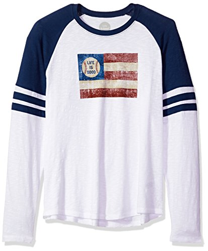 Clouds Mens Tee - Life is good Men's Vintage Sport Baseball Flag T-Shirt, Cloud White, XX-Large